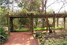 The Rose Arbor With Azeleas Blooming In The Background.