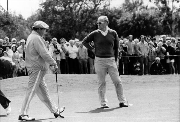 Gerald Ford playing golf with Jackie Gleason at the Lago Mar County Club- Fort Lauderdale, Florida
