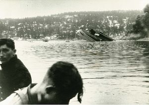 Battle of Drøbak Sound - German survivors, with the sinking Blücher in the background