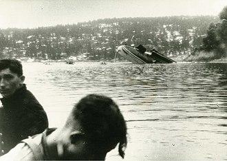 Battle of Drøbak Sound - German survivors, with the sinking Blücher in the background