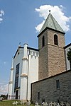 Gethsemani Abbey church and bell tower.jpg