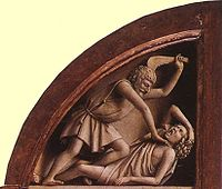 Cain commits the first murder. Detail of the Ghent Altarpiece (1432) at Saint Bavo Cathedral.