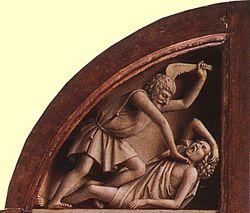 קין הורג את הבל, בגלל קנאה עזה בציור מהמאה ה-15