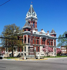 The southeastern face of the current Gibson County Courthouse in Princeton, built in 1884 and the Civil War monument built in 1912.