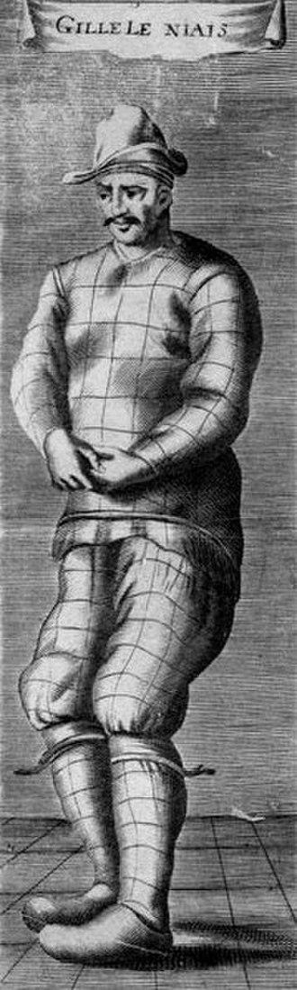 Gilles (stock character) - Gilles le Niais, c. 1649: anonymous engraving in the Cabinet des Estampes, Bibliothèque Nationale, Paris.