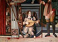 Giovanni di Andrea de magistris (bottega), madonna in trono tra i ss. romolo e rocco, 1539, 04 angelo musicante.jpg