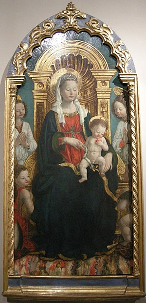 Turin City Museum of Ancient Art - Madonna and Child Enthroned with Four Angels (1475–80) by  Giovanni Martino Spanzotti.