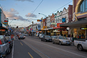Hawthorn, Victoria - Hawthorn's Glenferrie Road shopping strip, facing north towards Kew