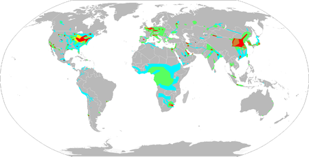 Nitrogen dioxide concentrations as measured from satellite 2002-2004 Global air pollution map.png