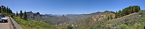 Canary Islands - Panoramic view of Gran Canaria, with Roque Nublo at the left and Roque Bentayga at the center