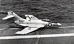 Grumman F9F-8 Cougar of VF-94 crashes on USS Yorktown (CVA-10), in 1956.jpg