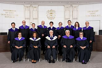 Constitutional Court (Austria) - The Court in 2015. Front row center: Gerhart Holzinger, the president of the Court at the time