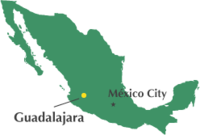 Location of Guadalajara in Mexico