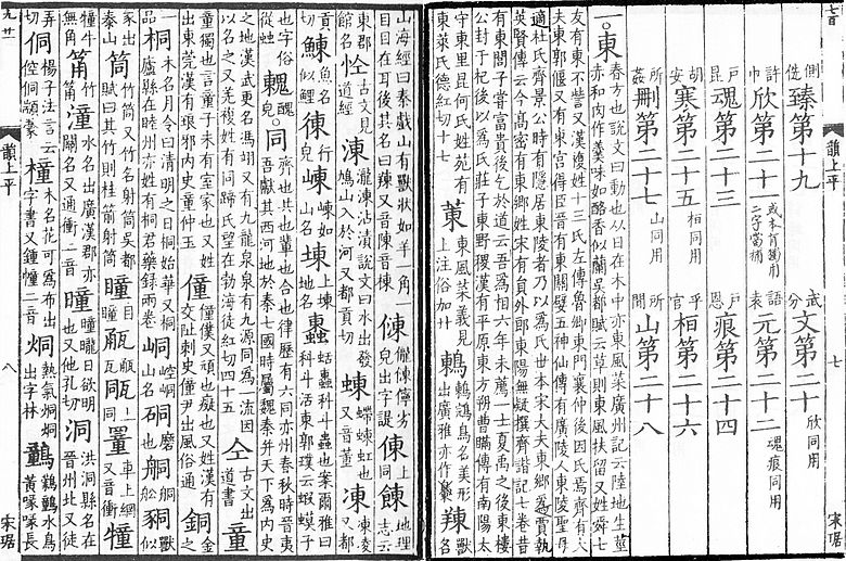 "The start of the first rhyme class of the Guangyun (東 dōng ""east"")"