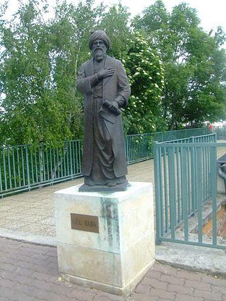 Gül Baba - Statue of Gül Baba by Metin Yurdanur outside his mausoleum in Budapest.