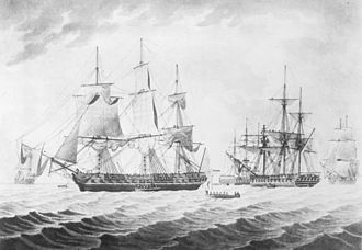 Capture of USS President - Image: HMS Endymion with USS President captured