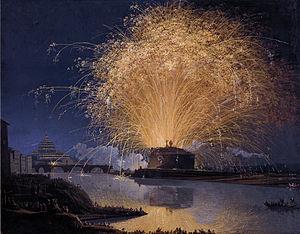 Jacob Philipp Hackert - Image: Hackert, Feuerwerk auf der Engelsburg in Rom, 1775