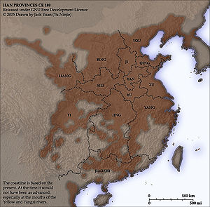 Jingzhou (ancient China) - Map of Chinese provinces in the prelude of Three Kingdoms period. (In the late Eastern Han dynasty, 189 CE).