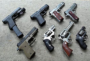 Clockwise start at the top left: Glock G22, Gl...