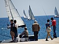 Harbor Scene with Pedestrians and Yachts - Barcelona - Spain (14141572488).jpg
