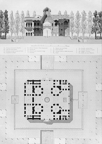 Hasht Behesht - The plan of Hasht Behesht by French artist Pascal Coste.