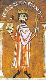 Henry IV. (Detail from a Gospel Book from St. Emmeram, after 1106)