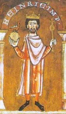 A miniature depicting a bearded man wearing a crown and holding a sceptre and an orb