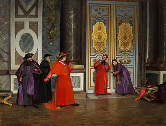 Eavesdropping - Cardinals eavesdropping in the Vatican. A painting by Henri Adolphe Laissement, 1895