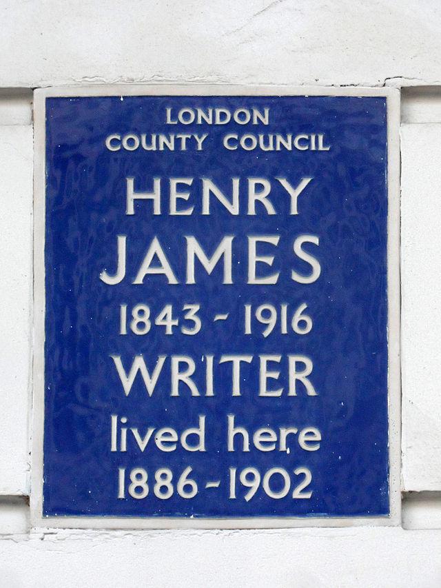 Henry James blue plaque - Henry James (1843-1916), writer, lived here 1886-1902.