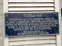 Heritage plaque for toddle inn, at 640 richmond street, london ontario canada