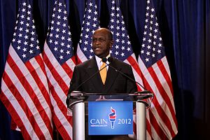 Herman Cain presidential campaign, 2012 - Cain at a press conference in Scottsdale, Arizona, addressing accusations of sexual harassment.