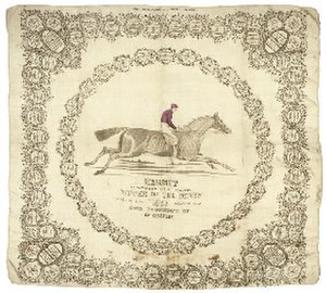 Hermit (horse) - Hermit's Derby win commemorated in a souvenir handkerchief.