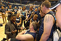 Hershel Walker talks with Warriors 130515-A-BQ341-001.jpg