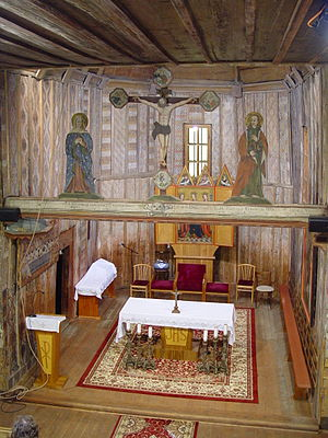 Wooden churches of the Slovak Carpathians - Inner view of the wooden church in Hervartov