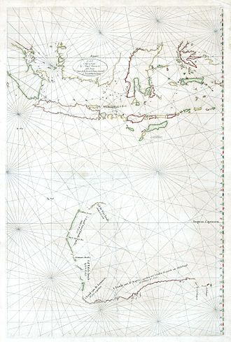European exploration of Australia - Hessel Gerritsz' map of Australia and the Dutch Indies after the explorations by François Thijssen in 1627.