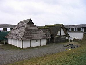 Heuneburg - Heuneburg: Reconstructed Celtic houses. The reconstructed mudbrick wall is visible in the background.