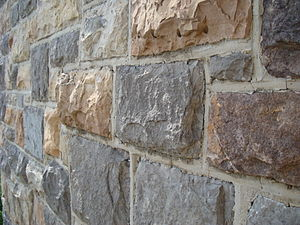 Hokie Stone - Hokie Stone façade detail, on O'Shaughnessy Hall.