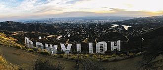 Hollywood Sign - A view of the back side of the sign from the top of the hill.