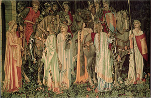 Holy Grail tapestries - The Arming and Departure of the Knights, one of the Holy Grail tapestries.