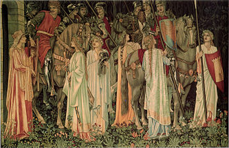 Knights of the Round Table - The Arming and Departure of the Knights, one of the Holy Grail tapestries by Edward Burne-Jones, William Morris, and John Henry Dearle (19th century)