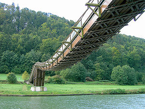 Suspension bridge types - Image: Holzbrücke bei Essing 1