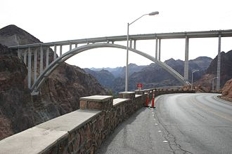 Mike O'Callaghan–Pat Tillman Memorial Bridge - The completed bridge viewed from Nevada in December 2010