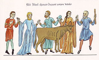 Golden calf - The Adoration of the Golden Calf – Picture from the Hortus deliciarum of Herrad of Landsberg (12th century)