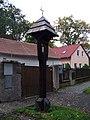 Hostavice, Pilská, zvonička a domy čp. 7 a 11.jpg