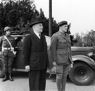 Belgian government in exile - Hubert Pierlot (left), Prime Minister of the government in exile, April 1944.