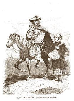 Travelling Hutsul, Galicia, 1872; lithograph