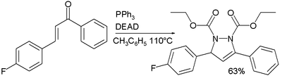 reraction of DEAD / triphenylphosphine with chalcones
