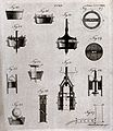Hydraulics; various designs for pumps. Engraving by A. Bell. Wellcome V0024468.jpg