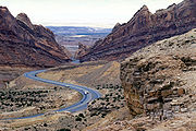 I-70 passes through Spotted Wolf Canyon inside the San Rafael Swell