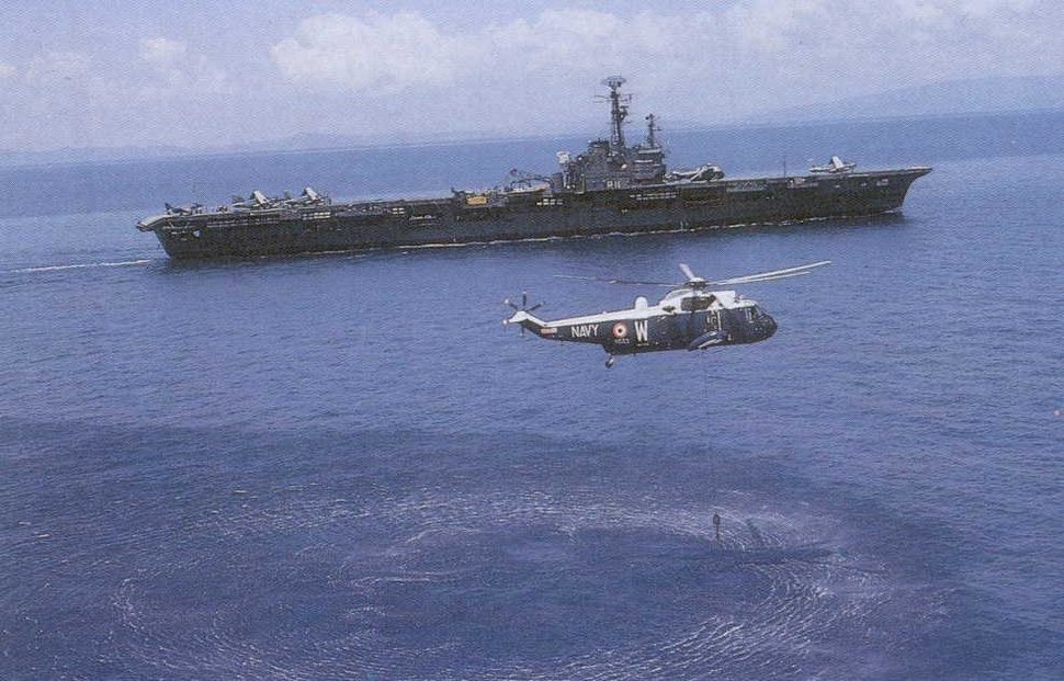 INS Vikrant (R11) with a Sea King helicopter during Indo-Pakistani war of 1971